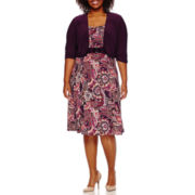 Perceptions 3/4-Sleeve Paisley Print Jacket Dress - Plus