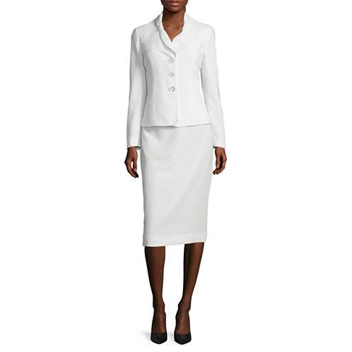 Le Suit® Long-Sleeve 3-Button Skirt Suit