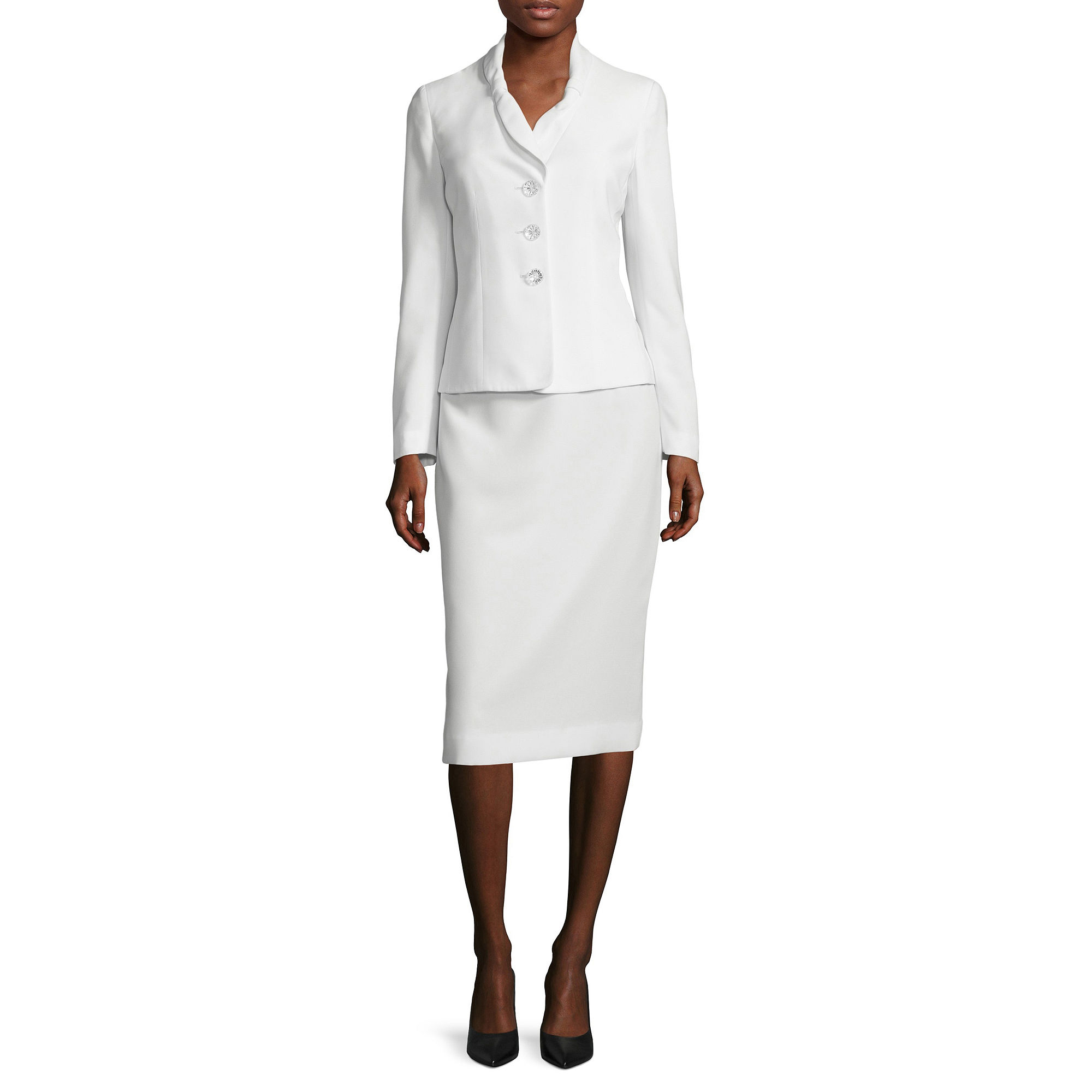 Le Suit Long-Sleeve 3-Button Skirt Suit plus size,  plus size fashion plus size appare