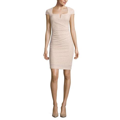 Blu Sage Cap-Sleeve Sparkle Sheath Dress