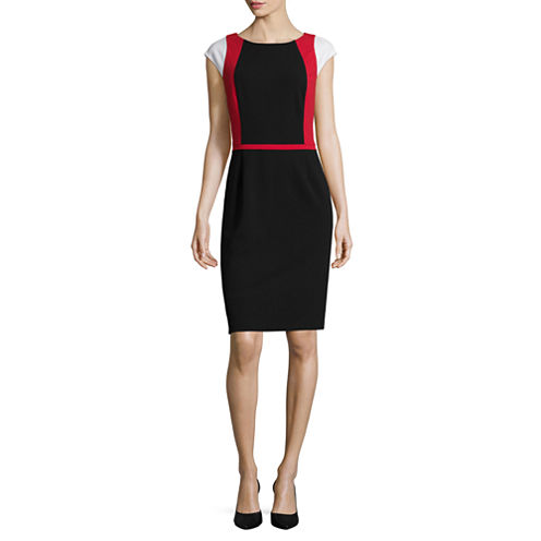 Liz Claiborne® Cap-Sleeve Colorblock Sheath Dress