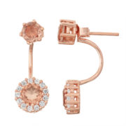 Simulated Morganite & Lab-Created White Sapphire 14K Gold Over Silver Front-Back Earrings