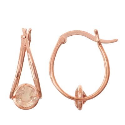 Simulated Morganite 14k Rose Gold Over Silver Hoop Earrings