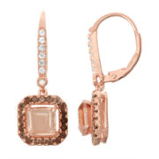 Simulated Morganite, Genuine Smoky Quartz, & Diamond Accent 14K Rose Gold Over Silver Earring