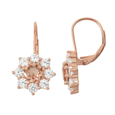jcpenney.com | Simulated Morganite & Lab Created White Sapphire 14K Rose Gold    Over Silver Earrings