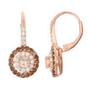 Simulated Morganite & Genuine Smoky Quartz 14K Rose Gold Over Silver Earrings
