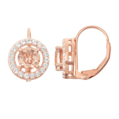 jcpenney.com | Simulated Morganite & Lab-Created White Sapphire 14K Rose Gold  Over Silver Earrings