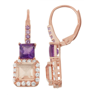 jcpenney.com | Simulated Morganite & Genuine Amethyst 14K Rose Gold Over Silver  Earrings