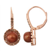 Chocolate Cultured Freshwater Pearl & Lab Created Smoky Quartz   14K Rose Gold Over Silver Earrings