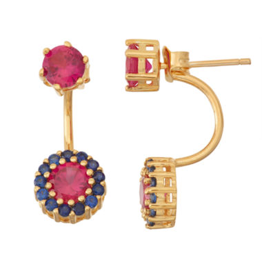 jcpenney.com | Lab-Created Ruby & Sapphire 14K Gold Over Silver Front-Back Earrings