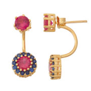 Lab-Created Ruby & Sapphire 14K Gold Over Silver Front-Back Earrings