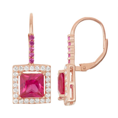 jcpenney.com | Lab-Created Ruby & White Sapphire 14K Rose Gold Over Silver Leverback Earrings