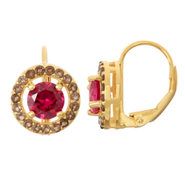 jcpenney.com | Lab-Created Ruby & Genuine Smoky Quartz 14K Gold Over Silver Leverback Earrings
