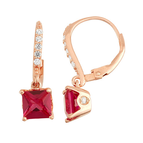 Lab-Created Ruby Diamond Accent 14K Rose Gold Over Silver Leverback Earrings