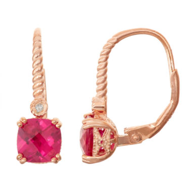 jcpenney.com | Lab-Created Ruby & Diamond Accent 14K Rose Gold Over Silver Leverback Earrings