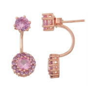 Lab-Created Pink Sapphire & Amethyst 14K Rose Gold Over Silver Front-Back Earrings