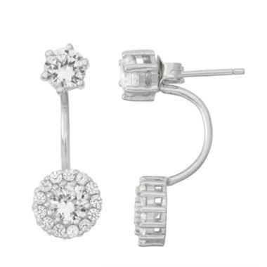 jcpenney.com | Lab-Created White Sapphire Sterling Silver Front-Back Earrings