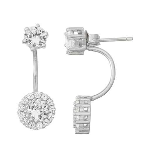 Lab-Created White Sapphire Sterling Silver Front-Back Earrings