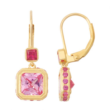 jcpenney.com | Lab-Created Pink Sapphire & Ruby 14K Gold Over Silver Leverback Earrings