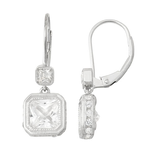 Lab-Created White Sapphire 14K Gold Over Silver Leverback Earrings