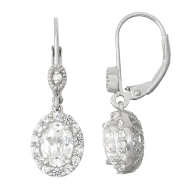 jcpenney.com | Lab-Created White Sapphire Sterling Silver & Diamond Accent Leverback Earrings