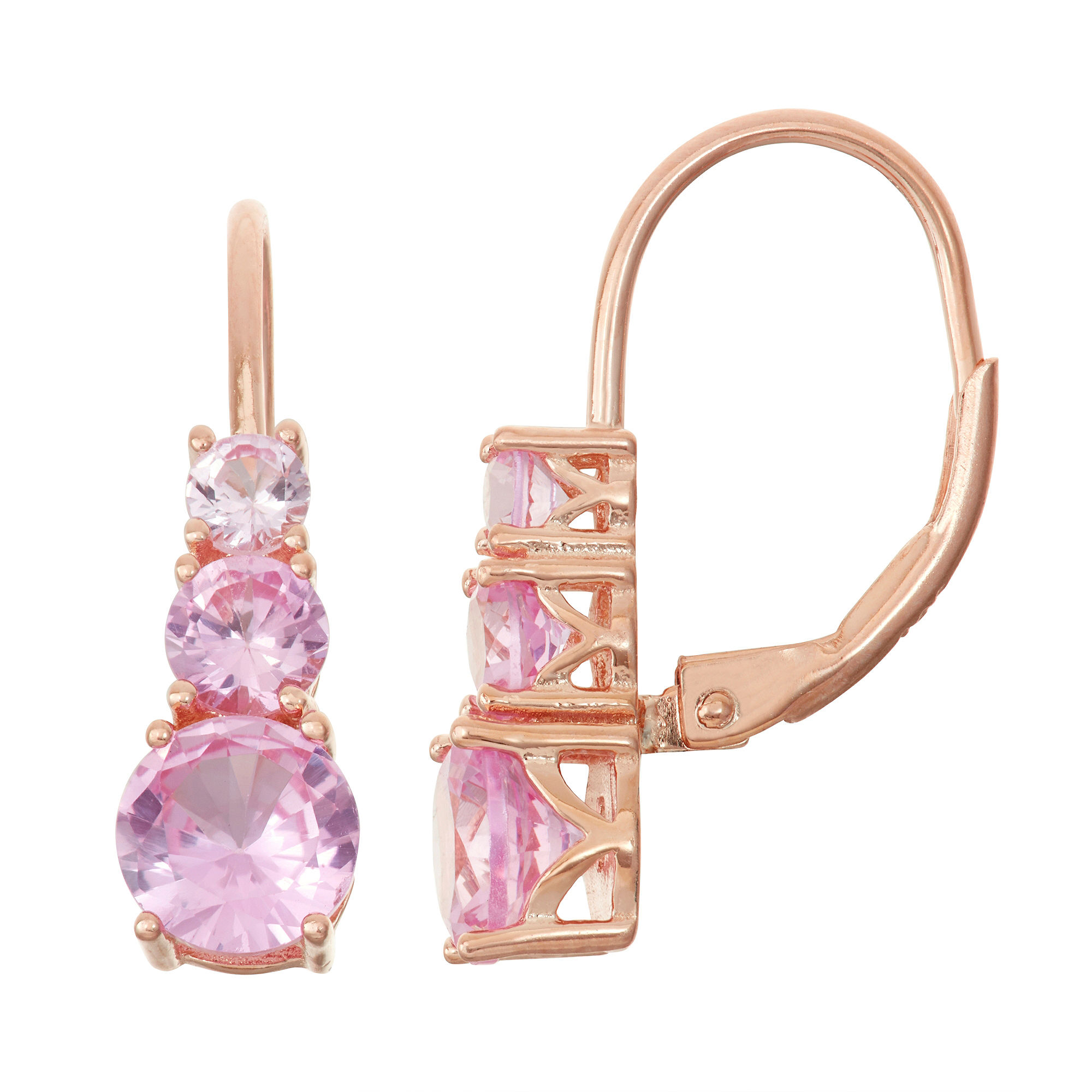 Lab-Created Pink Sapphire 14K Rose Gold Over Silver Leverback Earrings