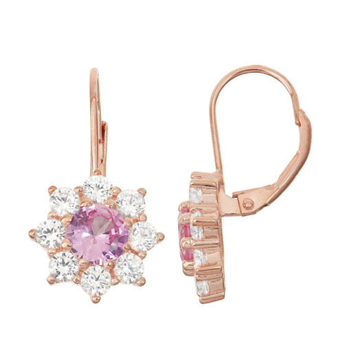 Lab-Created Pink Sapphire & White Sapphire 14K Rose Gold Over Silver Leverback Earrings