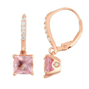 jcpenney.com | Lab-Created Pink Sapphire 14K Rose Gold Over Silver Leverback Earrings