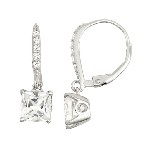 Lab-Created White Sapphire & Diamond Accent Sterling Silver Leverback Earrings