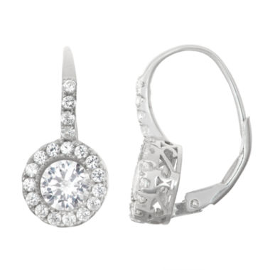 jcpenney.com | Lab-Created White Sapphire Sterling Silver Leverback Earrings