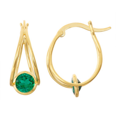 jcpenney.com | Lab-Created Emerald 14K Gold Over Silver Hoop Earrings