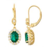 Lab-Created Emerald & White Sapphire Diamond Accent 14K Gold Over Silver Leverback Earrings