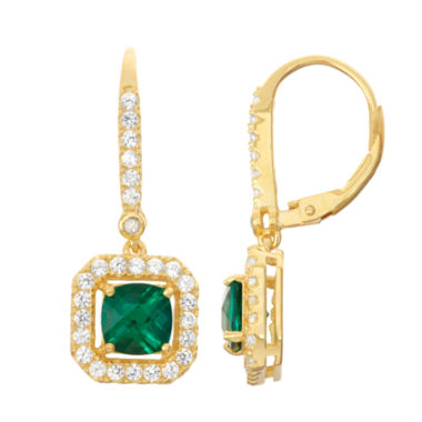 jcpenney.com | Lab-Created Emerald & White Sapphire Diamond Accent 14K Gold Over Silver Leverback Earrings
