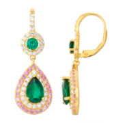 Lab-Created Emerald & Pink Sapphire Sterling Silver Leverback Earrings