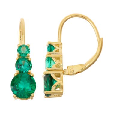 jcpenney.com | Lab-Created Emerald 14K Gold Over Silver Leverback Earrings