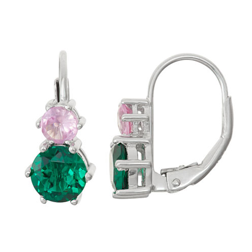 Lab-Created Emerald & White Sapphire Sterling Silver Leverback Earrings