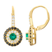 Lab-Created Emerald & Black Spinel 14K Gold Over Silver Leverback Earrings