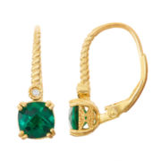 Lab-Created Emerald & Diamond Accent 14K Gold Over Silver Leverback Earrings