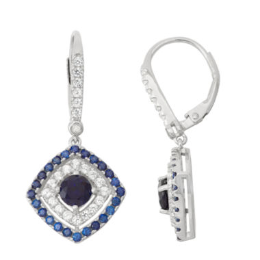 jcpenney.com | Lab-Created Sapphire & White Sapphire Sterling Silver Leverback Earrings