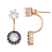 Lab-Created Aquamarine & Sapphire 14K Rose Gold Over Silver Front-Back Earrings