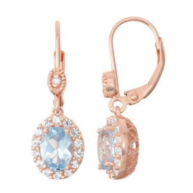 jcpenney.com | Lab-Created Aquamarine & White Sapphire Diamond Accent 14K Rose Gold Over Silver Leverback Earrings