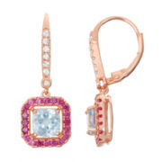 Lab-Created Aquamarine & Ruby Diamond Accent 14K Rose Gold Over Silver Leverback Earrings