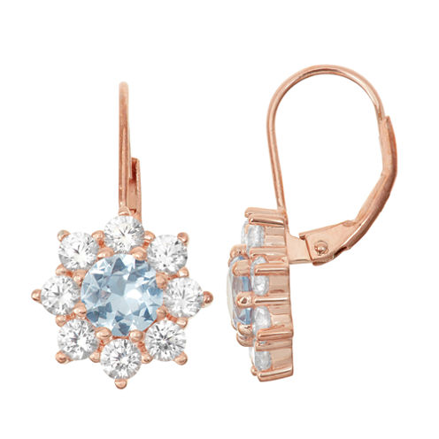 Lab-Created Aquamarine & White Sapphire 14K Rose Gold Over Silver Leverback Earrings