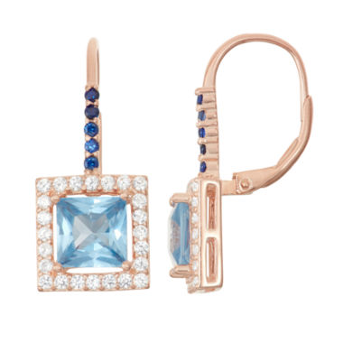 jcpenney.com | Lab-Created Aquamarine & Sapphire 14K Rose Gold Over Silver Leverback Earrings