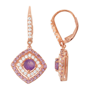 jcpenney.com | Genuine Amethyst & Lab-Created White Sapphire 14K Rose Gold Over Silver Leverback Earrings