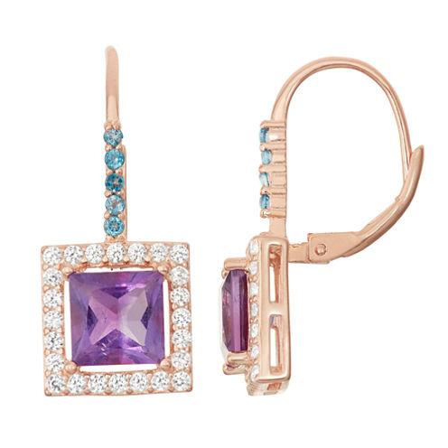 Genuine Amethyst & London Blue Topaz 14K Rose Gold Over Silver Leverback Earrings