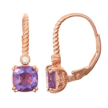 jcpenney.com | Genuine Amethyst & Diamond Accent 14K Rose Gold Over Silver Leverback Earrings