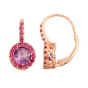 Genuine Amethyst & Lab-Created Ruby 14K Rose Gold Over Silver Leverback Earrings