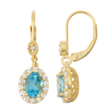 jcpenney.com | Genuine Swiss Blue Topaz & Lab-Created White Sapphire 14K Gold Over Silver Leverback Earrings