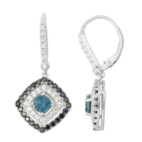 Genuine London Blue Topaz & Black Spinel Sterling Silver Diamond Accent Leverback Earrings